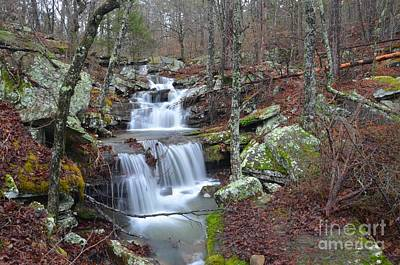 Mount Magazine Waterfall Art Print by Deanna Cagle