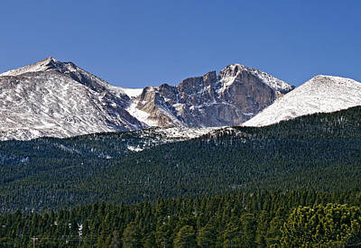 Mount Meeker On The Far Left Longs Peak In The Middle Mount Lady Washington To The Right Print by Brendan Reals
