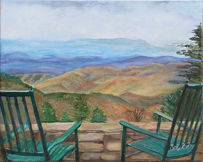 Appalacian Art Painting - Mount Mitchell Thru The Chairs by Cathy Lindsey ART