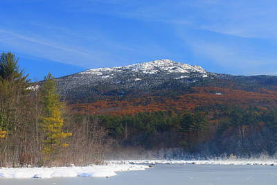 New Hampshire Autumn Photograph - Mount Monadnock Late Foliage And Snow by John Burk