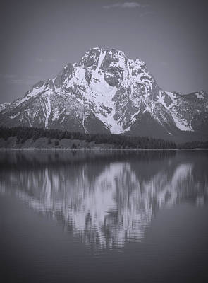 Photograph - Mount Moran Black And White Reflection by Dan Sproul