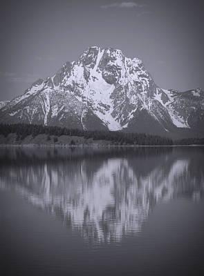 Mount Moran Black And White Reflection Art Print