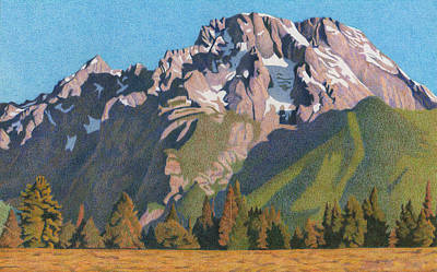 Teton Drawing - Mount Moran by Dan Miller