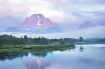 Teton Digital Art - Mount Moran Digital Painting by Donald Schwartz