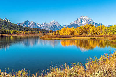 Mount Moran From The Snake River In Autumn Art Print by James Udall