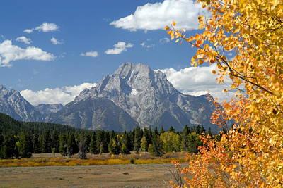 Mount Moran In Autumn Art Print by Larry Ricker