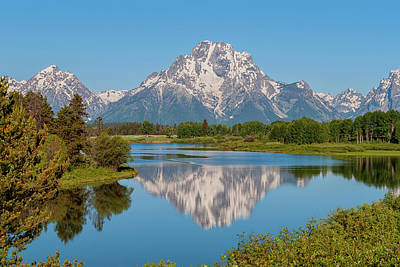 Reflecting Photograph - Mount Moran On Snake River Landscape by Brian Harig