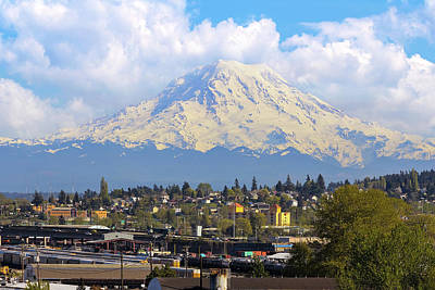 Wall Art - Photograph - Mount Rainer Over Port Of Tacoma by David Gn