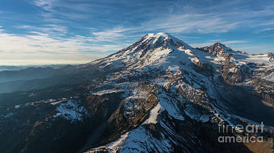 Photograph - Mount Rainier Aerial Photography Over Cowlitz Divide by Mike Reid