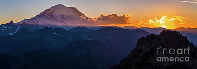 Photo Royalty Free Images - Mount Rainier Aerial Sunset Panorama Above Chinook Pass Royalty-Free Image by Mike Reid