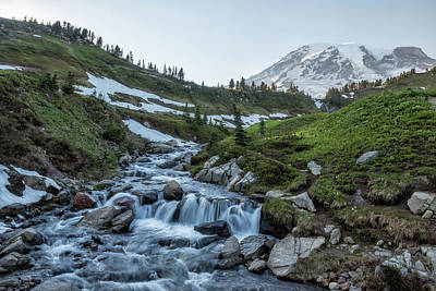 Photograph - Mount Rainier And Edith Creek, Late Afternoon by Belinda Greb