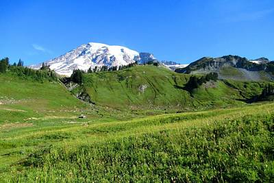 Photograph - Mount Rainier And Green Meadows by Karen Molenaar Terrell