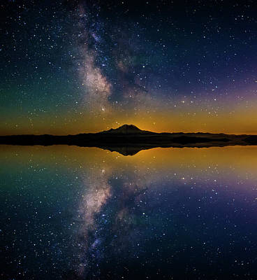 Mount Rainier And The Milky Way Reflection Art Print