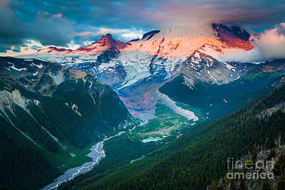 White River Photograph - Mount Rainier And White River by Inge Johnsson