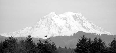 Mount Rainier Black And White Art Print by Laurie Kidd