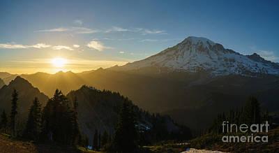Photograph - Mount Rainier Dusk Fallen by Mike Reid
