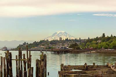 Photograph - Mount Rainier From City Of Tacoma Washington Waterfront by David Gn