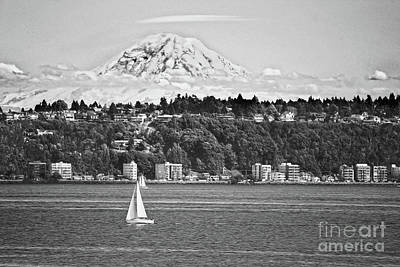 Photograph - Mount Rainier From Puget Sound B W by Catherine Sherman