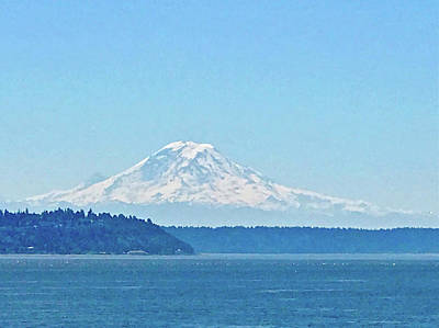 Photograph - Mount Rainier From Puget Sound by Don Mercer