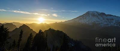 Photograph - Mount Rainier Golden Dusk Light by Mike Reid