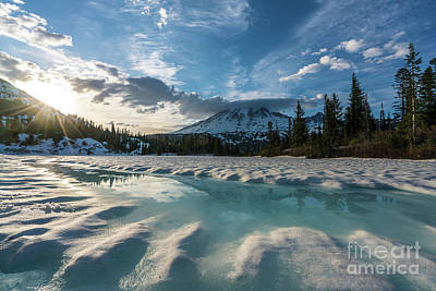Photograph - Mount Rainier Icy Lake Reflection by Mike Reid