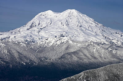 Mount Rainier In Winter From Mount Tahoma Trails High Hut Washi Art Print by Ed Book