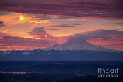 Serene Photograph - Mount Rainier Morning Fire by Mike Reid