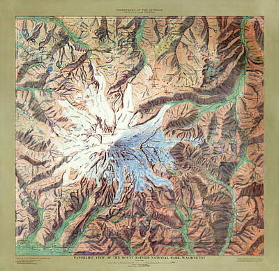 Drawing - Mount Rainier National Park Map By The Us Geological Survey - 1914 by Blue Monocle