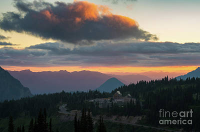 Photograph - Mount Rainier National Park Paradise Visitor Area At Sunset by Mike Reid