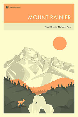Mount Rainier National Park Poster Art Print by Jazzberry Blue