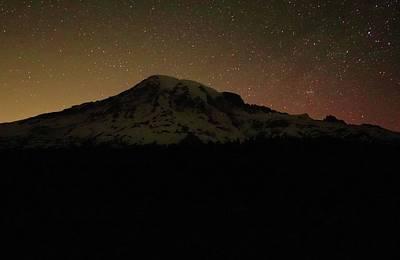 Startrails Photograph - Mount Rainier Night Sky by Dan Sproul