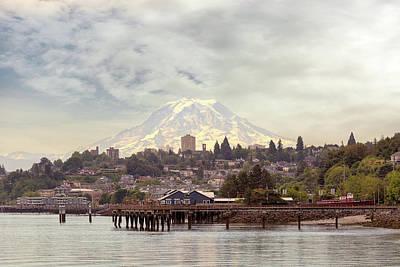 Photograph - Mount Rainier Over City Of Tacoma Washington by David Gn