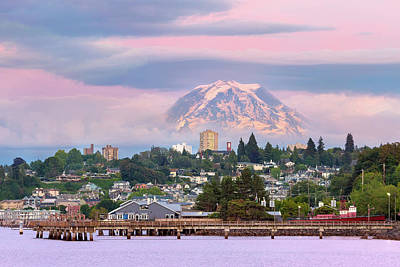 Wall Art - Photograph - Mount Rainier Over Tacoma Waterfront At Dusk by David Gn
