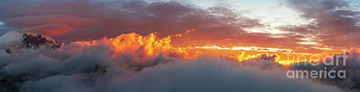 Surrealism Royalty Free Images - Mount Rainier Sunset Clouds On Fire Panorama Royalty-Free Image by Mike Reid