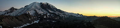 Fremont Photograph - Mount Rainier Sunset Light Panorama by Mike Reid