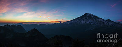 Photograph - Mount Rainier Sunset  Panorama by Mike Reid