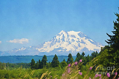 Photograph - Mount Rainier Watercolor by Tatiana Travelways