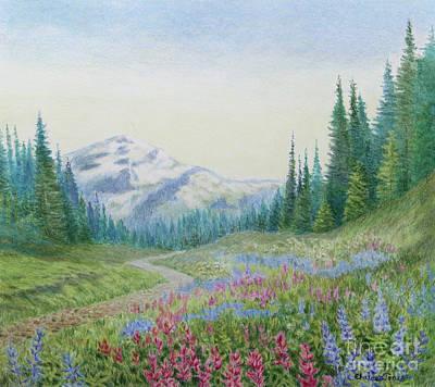 Mount Rainier Wildflowers Art Print by Elaine Jones