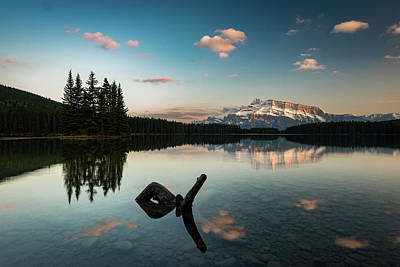 Mount Rundle And Two Jack Lake Art Print