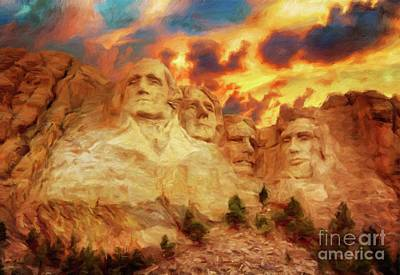 Mount Rushmore Painting - Mount Rushmore By Sarah Kirk by Sarah Kirk