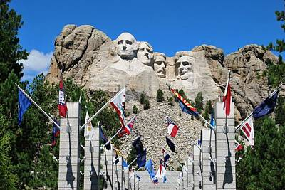 Photograph - Mount Rushmore Flags View by Matt Harang