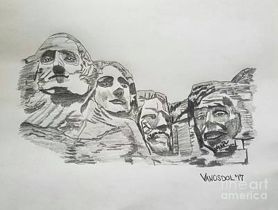 Mount Rushmore Graphite Pencil Sketch Original