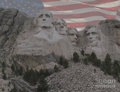 Hand Carved Photograph - Mount Rushmore by Juli Scalzi