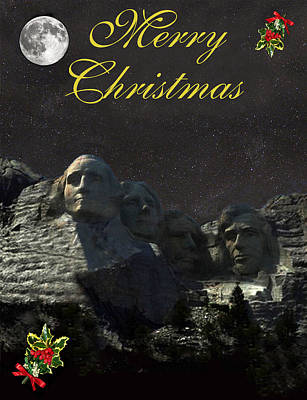George Washington Mixed Media - Mount Rushmore Merry Christmas by Eric Kempson