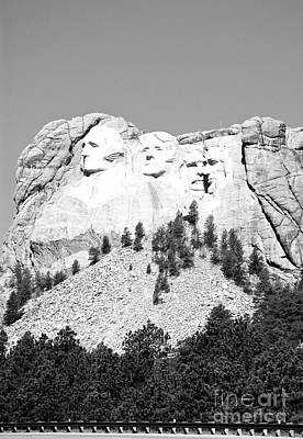 National Park Photograph - Mount Rushmore National Monument Profile Against Clear Sky From Highway South Dakota Black And White by Shawn O'Brien