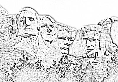 Photograph - Mount Rushmore Presidents American National Historic Monument South Dakota Black And White Digit Art by Shawn O'Brien
