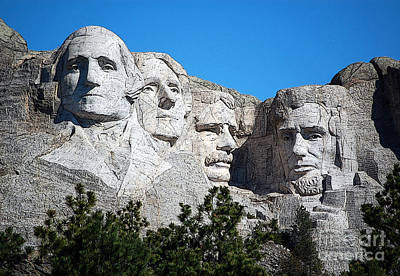 Photograph - Mount Rushmore Presidents American National Historic Monument South Dakota Poster Edges Digital Art by Shawn O'Brien