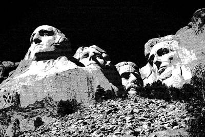 Drawing - Mount Rushmore South Dakota by Art America Gallery Peter Potter