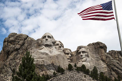 Mount Rushmore Photograph - Mount Rushmore With Flag by Jan and Burt Williams
