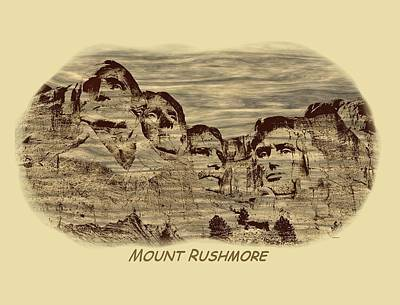 Mount Rushmore Woodburning 2 Art Print